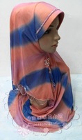 Free Shipping ! Hot Sales the New Style of Transitional Color Around the Head Beaded Easy Hijab, Muslim headscarf