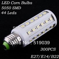 300pcs E27 E14 B22 5050SMD 44led LED Corn Light Bulb High Power 10W AC 110V/220V White/Warm White Fedex free delivery