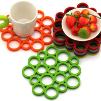 Circle Bubble Waterproof Dinner Mat fashion Silicon Heat Insulation Cup Pad Coasters Creative