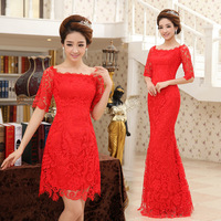 2014 New  lace fashion slim long /short design fish tail red marry evening dress half sleeve bride dress Freeshipping