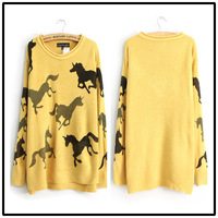 Free Shipping  Hot-selling animal print pattern o-neck long-sleeve pullover sweater female sweater SML