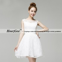 2014 New Arrival Hot Sale Scoop Neck Knee Length Satin Lace Dress For Party Gown Graduation Dress HoozGee 23798