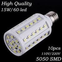 10Pcs Free shipping E27 E14 B22 5050SMD 60pcs Chips LED Corn Bulbs 15W AC110V/220V White/Warm White