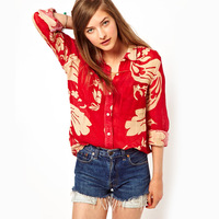 Free Shipping 2013 New Fashion Casual Europe Printed Chiffon Blouse Long Sleeved Red Shirt Print Women Top S M L