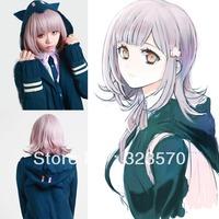 Super Dangan Ronpa 2 Sayonara Zetsubou Gakuen Nanami Chiaki Cleaner Cosplay Wig Free shipping + Free Cap