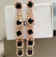 2013 fashion queen rhinestone earrings black long Women design drop earrings