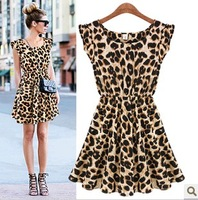 Free Shipping  New 2013 Women One Piece Dress Leopard Print Casual Microfiber Sundress Big size M L XL