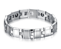 316L stainless steel bracelet, magnetic Bracelet for Male energy with health care stone bangle for men