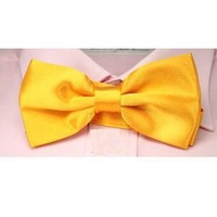 solid color men's bow ties for man gold necktie