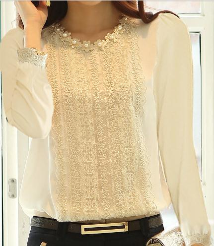 Free shipping chiffon unlined garment lace long sleeve shirt base coat the new professional women's clothing flowers Blouses(China (Mainland))