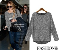loose womens plus size tops long sleeve ladies' knitted backing shirt wholesale Z762