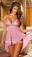 Sexy Lingerie Pink Lace Dress+G String One Size Sleepwear,free shipping