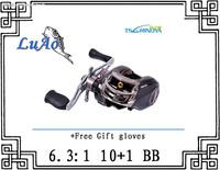 Trulinoya Right Hand DW1000 Baitcasting Fishing Reel Black 10+1BB Low Profile Baitcaster +Free Gift