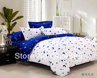Home textiles,Blue / White star moon bedding sets include comforter cover bed sheet pillowcase,linen,bedclothes,Free shipping
