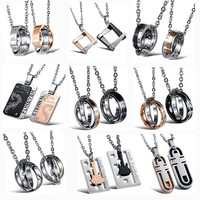 OPK JEWELRY 10pcs/lot  Wholesale Price stainless steel Couple Pendant Necklace Mixed Order Fashion LOVER Jewelry Free Shipping