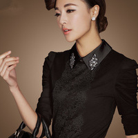 2013 plus velvet lace gauze sleeve basic shirt female turn-down collar slim shirt female long-sleeve t-shirt