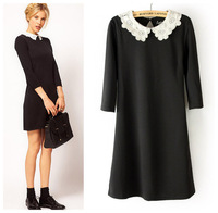 Free shipping  2014 new style Hot popular high quality  lace hollow out collar solid women  dresses,  1color S, M, L size