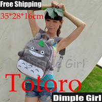 Free Shipping 1pc Japanese Style Kawaii Cute Animal Print Totoro Plush Backpack Cartoon Bag for Girl Women Novelty Item Gift Hot
