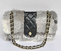 New Style Brand Rabbit Hair Shoulder Bag 2014 New Best Quality Rabbit Hair Leather Flap Shoulder Bag Best Quality Brand Bags