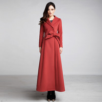 2012 autumn and winter solid color turn-down collar long-sleeve slim long design woolen outerwear trench overcoat fy224