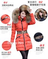 New Women's Down Jacket Women Vlsivery Large Raccoon Fur Thickening Medium-long Winter Jacket Coat Plus Size S-XL 5 Colors