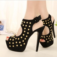 2014 fashion punk rivet women ultra-high high-heeled sandals free shipping
