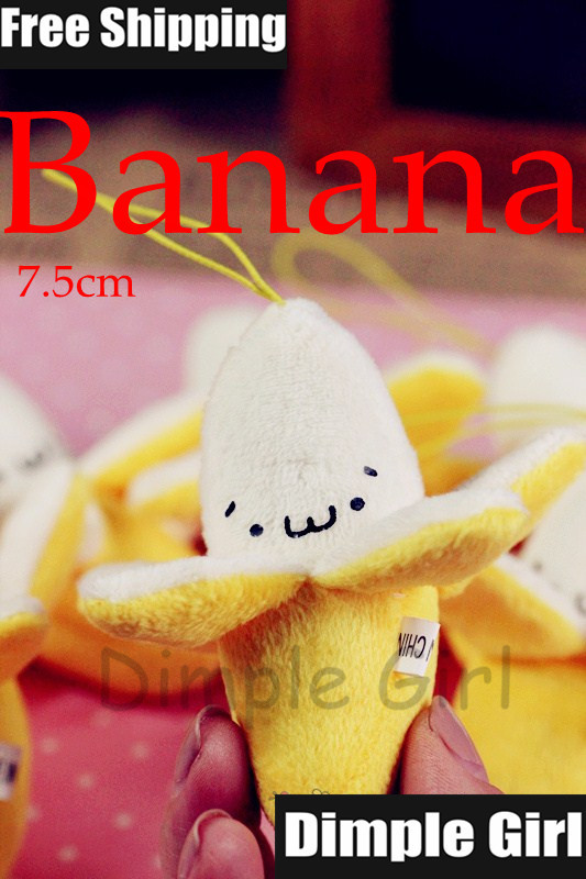 Free Shipping 1pc Japanese Style Kawaii Cute Fruit Pendant Yellow Banana Plush Charm Mobile Phone Strap Accessories Novelty Item(China (Mainland))