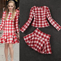 New Arrival Autumn Runway Fashion  Women Red Tweed Fabric Top+The White Squares Bust Skirt Set Free Shipping