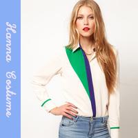 Womens Tops Fashion 2014 High Street Women's Chiffon Blouses & Shirts Women Sheer Blusas Casual Ladies Shirt For Woman WHITE