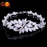 EU Jewellery  white sapphire   lady's  white Gold  bracelets for women gift