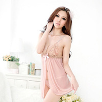 Free shipping Black Pink Sexy Lace Tulle Low-cut Women's Two Piece Nightwear Pajamas Set