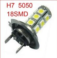 Free shipping 6pcs H7 car led light auto led lamp H7 18 SMD 5050 White Fog Tail Signal 18 LED Car Light Lamp Bulb 12V