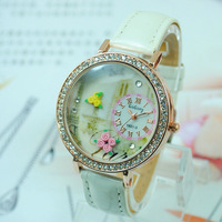 Fashion Quartz Wristwatch Women Girls Luxury Brand Watch Beautiful Flower Watches 2014 Valentine's day Gift Freeshipping
