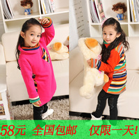 2013 female big boy long-sleeve large sweatshirt child pullover stripe patchwork basic top