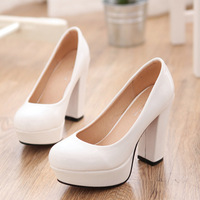 9055 japanned leather shoes female thick heel high-heeled shoes white red pink black ol round toe single shoes 2013 summer