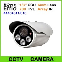 700TVL Sony Effio-e 4140+811/810 camera 1/3'' CCD 6mm Lens 3pcs Array IR Leds day and night vision CCTV camera , Free Shipping