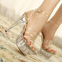 2014 ruslana korshunova ultra high heels sandals transparent crystal high-heeled shoes women's shoes plus size high-heeled shoes
