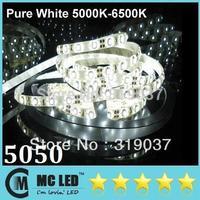 Wholesale - 5M Led Pure White Waterproof Flexible Strips Light 5050 SMD 300 Leds 12V High Bright For Christmas/Living/Hotel Ligh