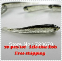 20 pcs 80 mm  Soft Tiddler Bait Fluke Fishing life like fish Lure Tackle Free Shipping