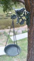 Decorative Cast Iron Hanging Aged Metal Bird Feeder Darkgreen Weathered Antique Birdfeeder Bird Bath Wall Mounted Free Shipping