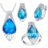 Aquamarine Top Austria Crystal 925 Sterling Silver Plated Jewelry Sets including Necklaces & Pendant Earrings Ring Free Shipping