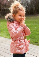 Retail 2014 new fashion children girls winter coat  child wadded jacket winter outerwear with hood pink trench belt