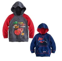 Free shipping 2014 New Arrive boy spiderman hoodies cartoon car hoody, child sweater, children's clothing, boy's sweatshirt