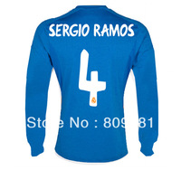 Real Madrid Long sleeved 13/14 season  Thailand Quality Real Madrid guarantee sergio ramos  jersey  emborided logo Long sleeved