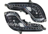 Free shipping Hyundai Solaris Accent. 2010-2012 Led DRL daytime running light with fog lamp cup and controller