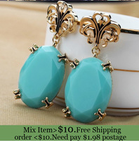 ZH0790 New Arrive fashion Anna Dello Russo Statement trendy blue earrings hot sell (min mix order $10)