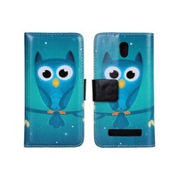 Colorful Night Owl Flip Wallet Purse Stand Leather Case Cover For HTC Desire 500 With Card Holder