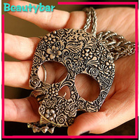 Fashion antique decorative pattern personality punk style skull necklace jewelry for women