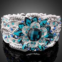 Victoria Style rose Rhinestone Crystal element sapphire flower Gold GP ARINNA bangle Bracelet B0186
