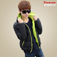 Male wadded jacket tidal current male wadded jacket multi-color with a hood wadded jacket male